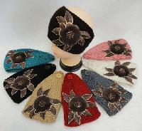Wide Hand Knitted Ear Band w Floral Applique [Fur & Beads]